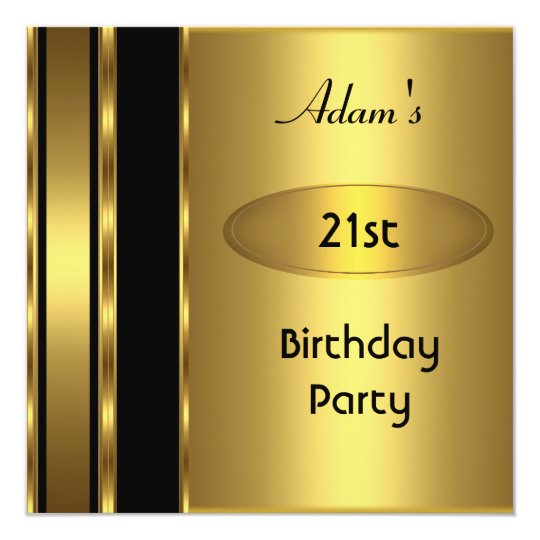 Gold Metal Black Mens 21st Birthday Party Man
