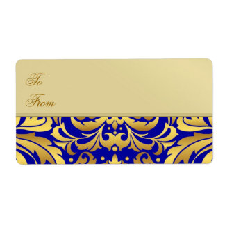 Gold Metal Blue Damask Christmas Gift Tag Label Shipping Label
