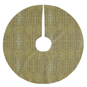Gold Metal Chain Mail Metallic Mediaeval Style Brushed Polyester Tree Skirt