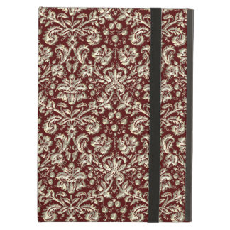 Gold Metal Color Damask Pattern on Maroon Case For iPad Air