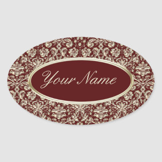 Gold Metal Color Damask Pattern on Maroon Oval Sticker
