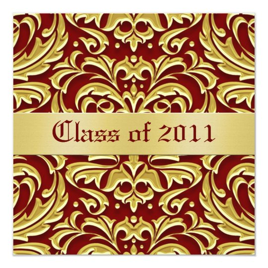 Gold Metal Damask Class of Graduation Invitation