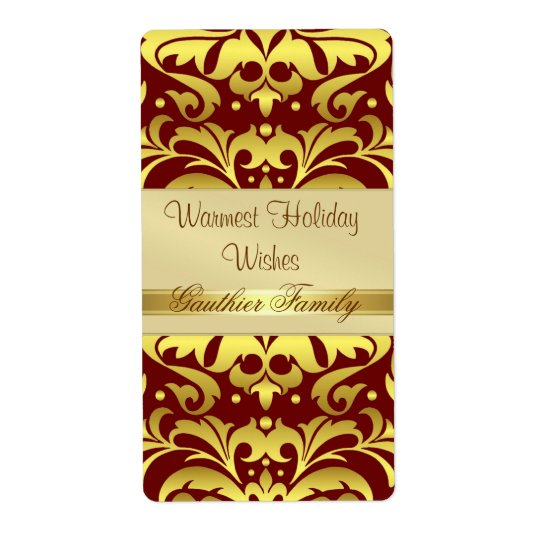 Gold Metal Damask Red Holiday Wine Label Shipping Label