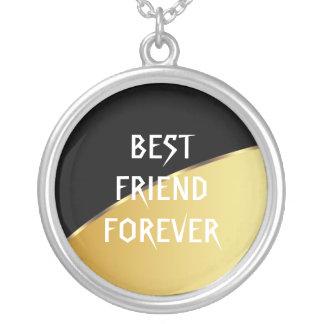 Gold Metal Elegant Black Best Friends Forever Round Pendant Necklace