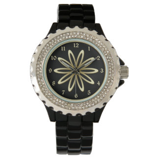 Gold Metal Flower Wrist Watches