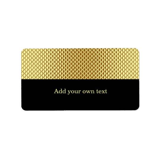 Gold Metal Glitter Black Label Gift Sticker Address Label