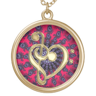 Gold Metal Music Clef Heart on Red Star Background Round Pendant Necklace