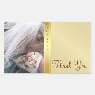 Gold Metal Thank You Photo Wedding Sticker