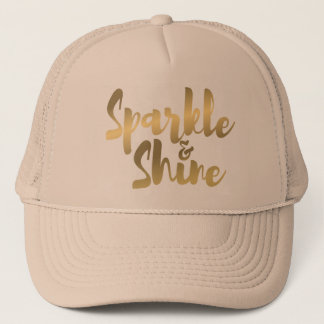 gold metallic brush stroke effect quote on hat cap