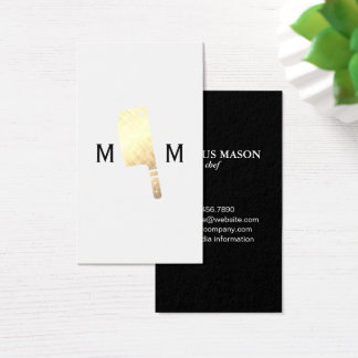 Gold Metallic Butcher Knife Monogram Business Card
