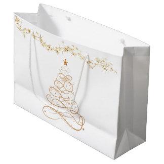Gold Metallic Filigree Christmas Tree Large Gift Bag