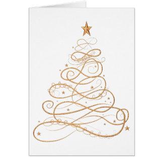 Gold Metallic Filigree Christmas Tree Minimalist Card