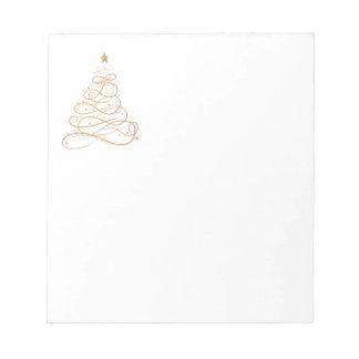 Gold Metallic Filigree Christmas Tree Minimalist Notepad