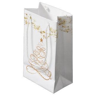 Gold Metallic Filigree Christmas Tree Small Gift Bag