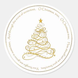 "Gold Metallic Filigree ""O Christmas Tree"" Lyrics Classic Round Sticker"