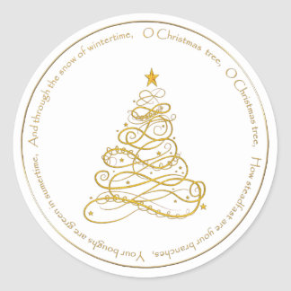 "Gold Metallic Filigree ""O Christmas Tree"" Lyrics Round Sticker"