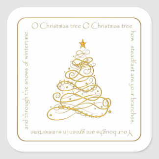 "Gold Metallic Filigree ""O Christmas Tree"" Lyrics Square Sticker"