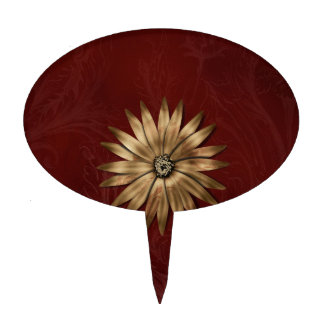 Gold Metallic Flower on red fabric Cake Toppers