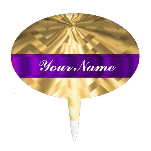 Gold metallic look chevron oval cake picks