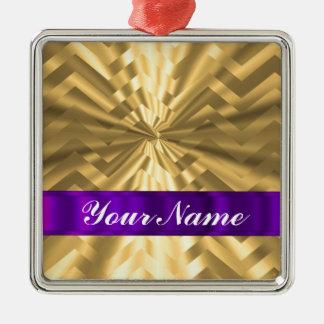 Gold metallic look chevron christmas ornament