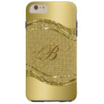 Gold Metallic Look With Diamonds Pattern Tough iPhone 6 Plus Case