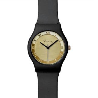 Gold Metallic Name Template Wrist Watches