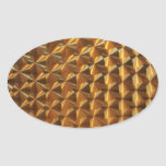 Gold Metallic Pattern Oval Sticker
