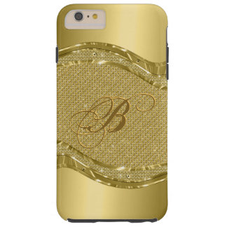 Gold Metallic Print With Diamonds Pattern Tough iPhone 6 Plus Case