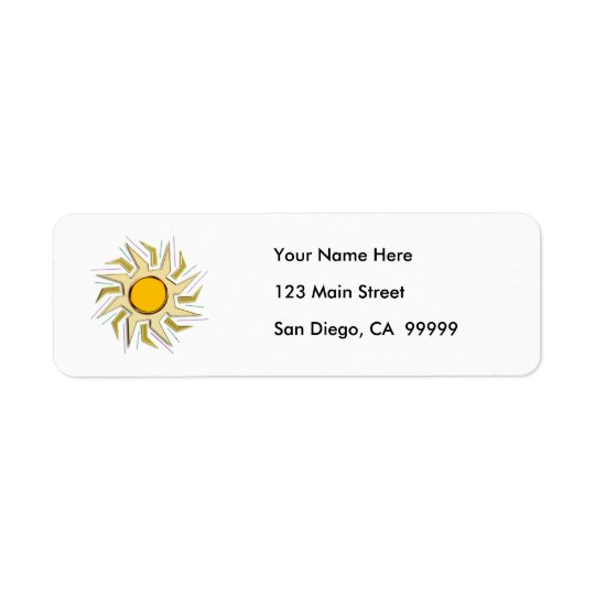 Gold Metallic Super Sun Sign Return Address Label