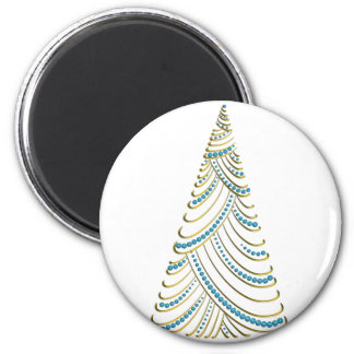 Gold Metallic Swirl & Drape Xmas Tree  Blue Balls 6 Cm Round Magnet