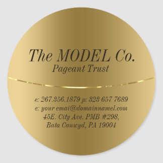 Gold Metallic Texture Print Classic Round Sticker