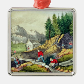 Gold Mining in California Christmas Ornament