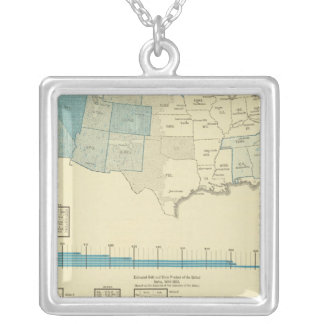 Gold mining regions silver plated necklace