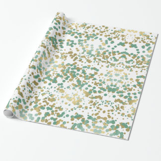 Gold Mint Confetti Wrapping Paper