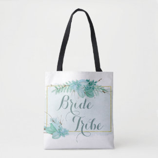 Gold Mint Floral Watercolor Bridesmaid Bride Tribe Tote Bag