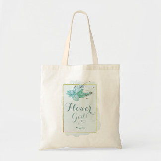 Gold Mint Floral Watercolor Flower Girl Tote Bag