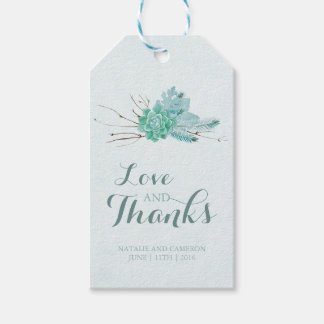 Gold Mint Floral Watercolor Wedding Favor Gift Tags