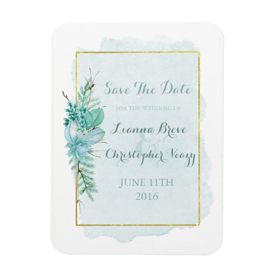 Gold Mint Floral Watercolor Wedding Save The Date