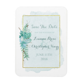 Gold Mint Floral Watercolor Wedding Save The Date Rectangular Photo Magnet