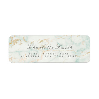 Gold Mint Green Marble Return Address Labels