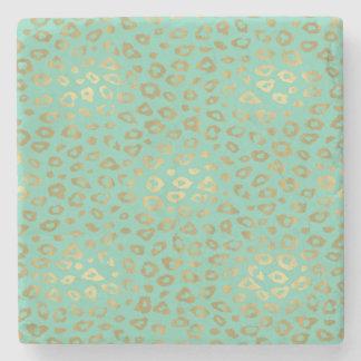 Gold Mint Ombre Leopard Print Stone Coaster