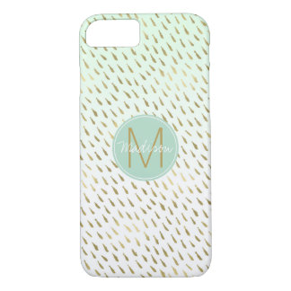 Gold Mint White Ombre Abstract Monogram iPhone 8/7 Case