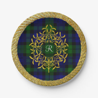 Gold Mistletoe Blackwatch Plaid Monogram Paper Plate