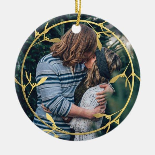 Gold Mistletoe Frame Holiday Photo Tree Ornament