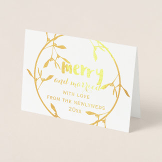 Gold Mistletoe Merry and Married Photo Foil Card