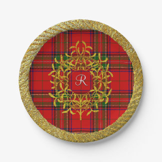 Gold Mistletoe Stewart Plaid Monogram Paper Plate