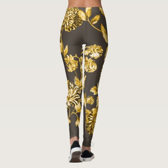 Gold Modern Botanical Floral Toile Espresso Brown Leggings