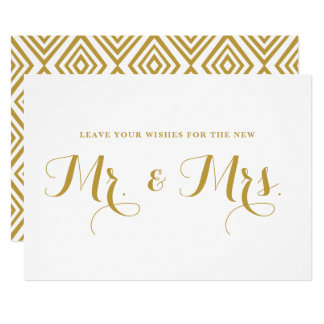 Gold Modern Calligraphy Wishes for Mr. & Mrs. Sign Card
