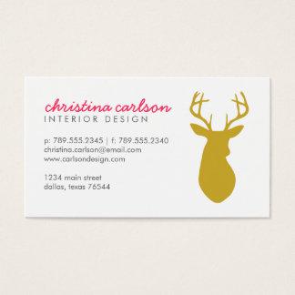 Gold Modern Deer and Chevron Stripes Business Card