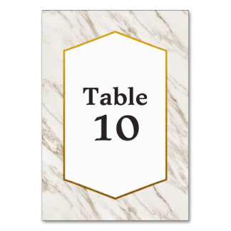 Gold Modern | Marble Table Number Card